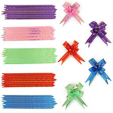 30/50/100PCS Small Pull Ribbon Bows Flowers Butterfly Wedding Party Xmas Gift