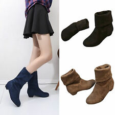 Women Faux Suede Ankle Boots Lady Low Chunky Heel Calf Boot Casual Slip On Shoes