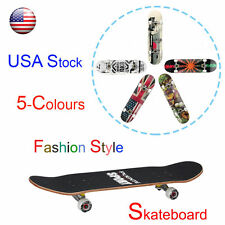 Retro Complete Deck Cruiser Skateboard 31'' Wheels Mini Skating Plastic Board US