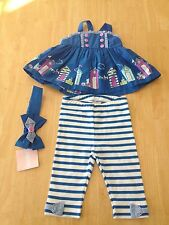 NWT Gymboree Hippos and Bows Beach Cabana Top Legging Headband Set 0 3 6 12 18M