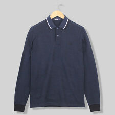 Fred Perry L/S Twin Tipped Polo Shirt - Service Blue/Black Oxford