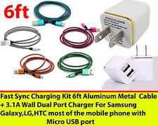 Charging Sync Kits 6ft Aluminum Cords + Dual 3.1 Wall Charger For Mobile Devices