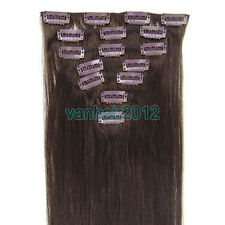 7PCS Clip In Remy 100% Human Hair Extensions Straight Any Length Dark Brown #02