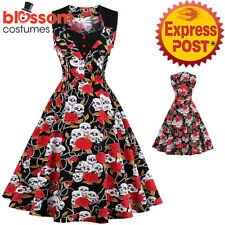 K364 Skull Roses Day of Dead Halloween Goth 50's Rockabilly Swing Party Dress
