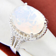 Oval Cut Woman Jewelry Rainbow Fire Blue Moonstone Gem Silver Ring US Size 7 8 9