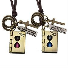Fashion Couples Bible Pendants Love Word Hourglass Witness Love Necklace Leather