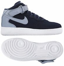 NIKE AIR FORCE 1 07 MID PREM WOMEN's LEATHER MIDNIGHT NAVY - BLUE GREY - WHITE