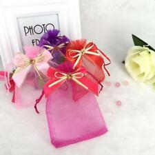10pcs Drawstring Organza Bowknot Gift Pouch Jewerly Candy Bags Wedding Favors