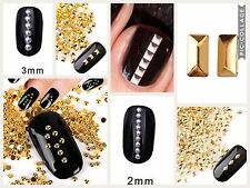 200 x GOLD SILVER NAIL ART METAL 3D STUDS DIAMOND SQUARE CIRCLE RECTANGLE