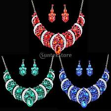 MagiDeal Women Prom Wedding Bridal Party Necklace Earring Crystal Jewelry Sets