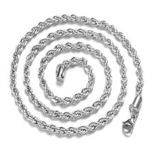 925 Silver Plated Mens Stainless Steel Rope Chains Wave Necklace 2/3/4mm Gift