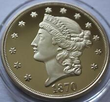 NATIONAL COLLECTOR'S MINT 1870 $20 Liberty Coin CU Layered 24k Gold PROOF
