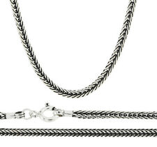 Snake 3mm Bali Braid 925 Solid Sterling Silver Chain Necklace Black Oxidized