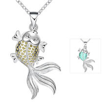 Silver Plated Hollow Out Lovely Goldfish Fluorescent Necklace Women Party Gift