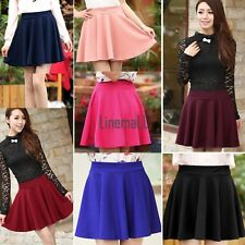 Women Candy Color Stretch Waist Plain Skater Flared Pleated Mini Skirt LM01