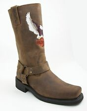 Harley-Davidson Darren 93217, Brown Leather Embroidered Motorcycle Boots