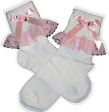 PINK Lace Ribbon BOWS Lacy Socks for Adult Little Girl Sissy Dress up LEANNE