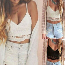 New Ladies Womens Lace Crop Strappy Camisole Summer Vest Top