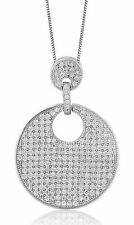 New 925 Sterling Silver Circle Pendant Necklace Cubic Zirconia Stones 18' Chain