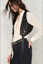 Nasty Gal Kickin' Up Dust Leather Bolo Vest S, M