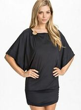Michael Kors Logo Boatneck Banded Swim Beach Cruise Cover Up Black NWT Fits XS/S