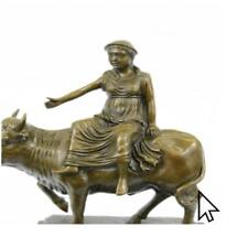 Abstract Botero Young Woman Rides A Bull Bronze Sculpture Statue FigurineBM