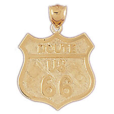 14K or 18K Gold U.S. Route 66 Pendant (Yellow, White or Rose) - GV4853