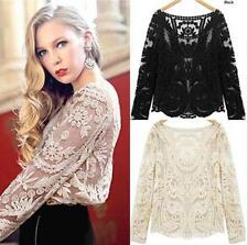 Summer Womens Semi Sheer Sleeve Embroidery Floral Lace Crochet T-Shirt Blouse Sz
