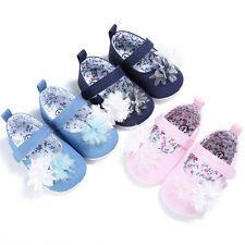 Baby Girls Walking Shoes Pink Newborn Kids Soft Sole Floral Print First Walkers