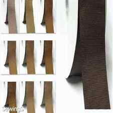 "Top Quality Grosgrain Ribbon 2.5"" / 63mm Wholesale 100 Yards Ivory to Brown"