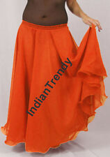 Orange - 2 Layer Reversible Skirt Belly Dance Gypsy 9 Yd Fulll Circle Jupe Gonna
