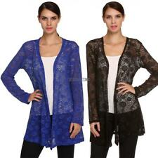 Women Long Sleeve open casual loose solid Crochet Long Cardigan Tops blouse new