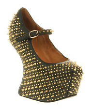Womens Jeffrey Campbell Prickly Wedge BLACK LEATHER GOLD SPIKE Heels
