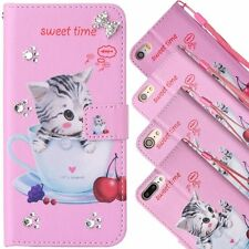 Lovely Teacup Cat Flip Leather Diamond Wallet Case Cover For iPhone 5S 6S 7 Plus