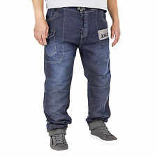 New Mens Denim Joggers Cuffed Jogger Jeans Stonewash Big King Waist 42 44 46 48