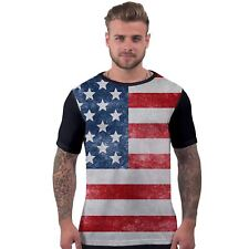 Mens All Over Print T Shirt USA American Flag Patriotic Independence Day Tee