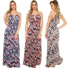 Ladies Maxi Dress Maxi Dress Zig Zag Pattern Long Wrap Look M 36 38 Party Club