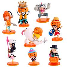 Set One Piece PVC Action Figure Toys Pumpkin Dress Up Luffy Zoro Nami Figurine