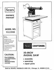 Sears Craftsman Radial Arm Saw Manual 113.23100 And Many Other Models Available