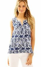 NWT Lilly Pulitzer Larissah Top 24332 Bright Navy Tons of Fun Size XS $98