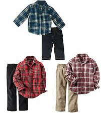 NWT Carter's Baby Boys' Long Sleeve Flannel Button-Down Shirt & Pant Set