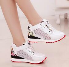 Womens Lace up Running Mesh Hidden Wedge Heel Sneakers Trainers Sports Shoes NjG