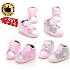 Girls Shoe Heart Polka Dots Lace-Up Soft Walkers Sneakers Canvas Baby Shoes