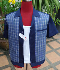 Handmade 1950's Style Retro Mens Rockabilly Bowling Shirt  Dark Blue multi check