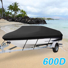 600D Fabric Waterproof Dustproof Scratch-proof Trailable Boat Cover V-Hull Black