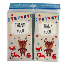 Boys Thank You, 4 Page Cards with Blue Envelopes - Pack of 16 - 3 Designs