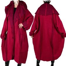 WOOL COAT TRENCH LAYERED LOOK WINTER TRANSITIONAL L XL XXL 3XL 4XL 46 - 62 RED