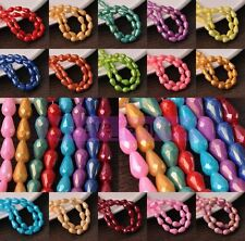 Wholesale 8/10mm Shiny Lacquer Crystal Glass Teardrop Faceted Loose Spacer Beads