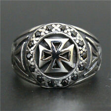 Jewelry Jesus Ring 316L Stainless Steel Men Crystal Christianity Cross Ring