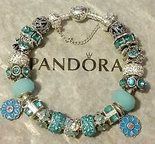 Authentic HEART CLASP PANDORA Charm Bracelet Sterling Silver European Beads #37